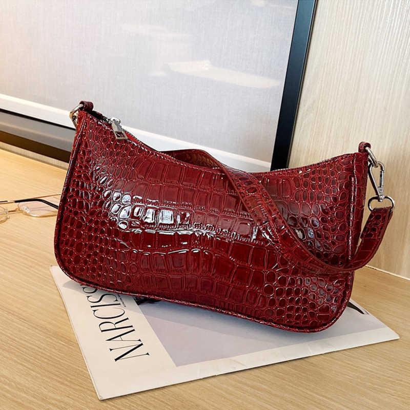 Bolsa de ombro de couro pu de crocodilo feminina, pequena, de marca famosa