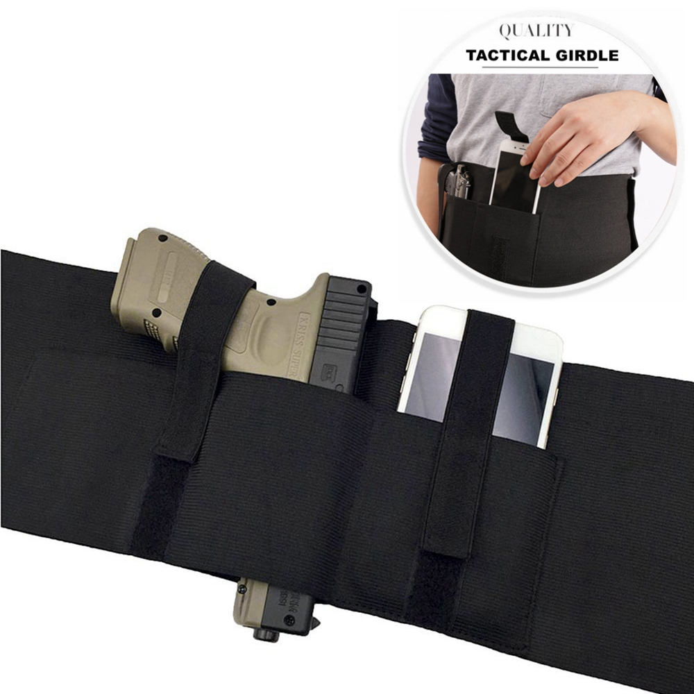 95CM Elastic Wide Belt With Phone Gun Bag Multi-functional Tactical Waist Seal Left And Right Universal Version Pistol Holster