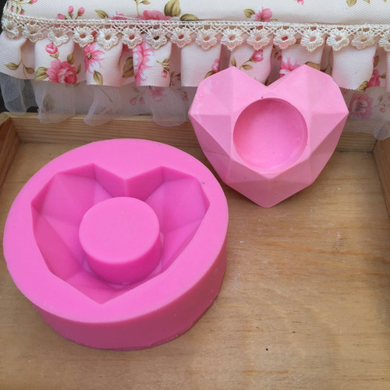3D Geometric Heart Shape Silicone Candle Mold DIY Aroma Gypsum Decoration Tools Cake Baking Mould Art Craft Soap Making Molds