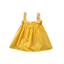 Dress Suspender Skirt Sleeveless Girls Cute Bow Lace Solid Color Yellow For Baby 0-36M New(China)