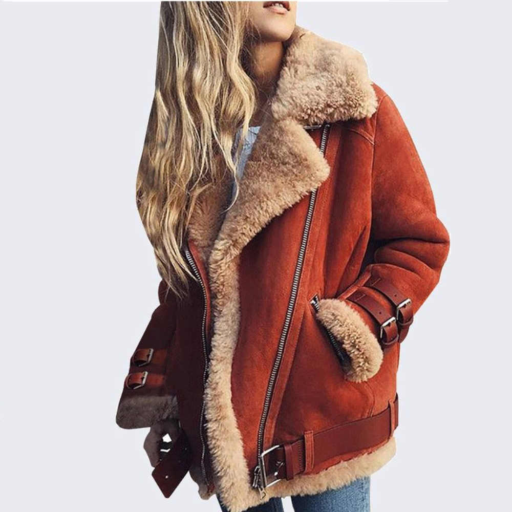 Wipalo 2019 S-5XL Plus Size Women Autumn Winter Lambs Wool Liner Coat Solid Teddy Jacket Fur Tops Locomotive Warm Zipper Coat