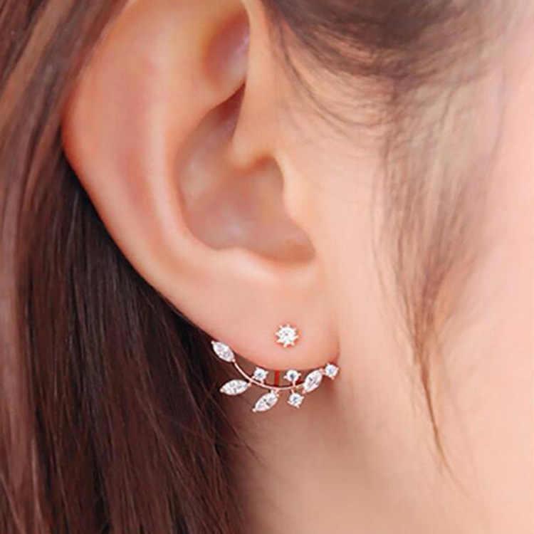 Brinco coreano de cristal de zircônia, joia feminina moderna de dupla face dourada e prata