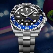 Lige дизайн Новые gmt Мужские автоматические часы сапфировые