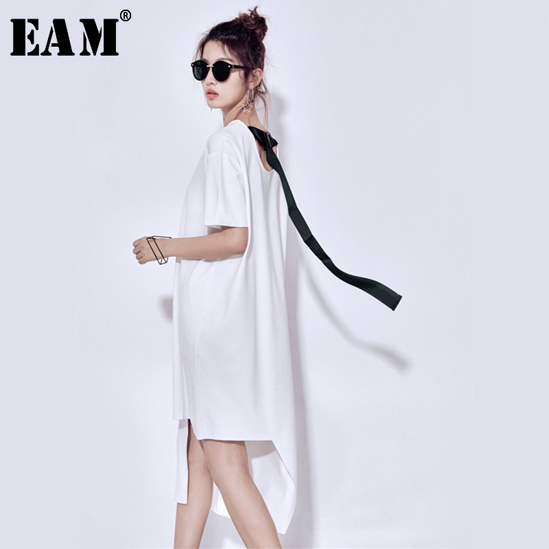 [EAM] 2020 New Spring Summer Round Neck Short Sleeve Back Ribbon Split Joint Irregular Loose Big Size Dress Women Fashion JU556