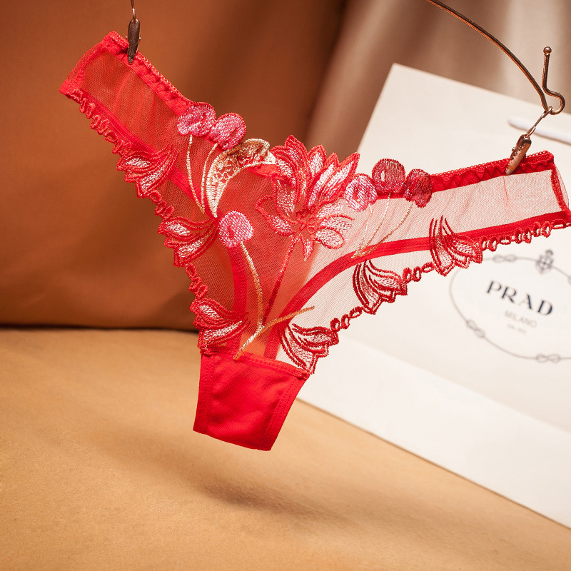 Female Sexy underpants Women's Low Rise Panties Ladies Briefs Thong Lingerie Peony Lace Underwear Intimates Seamless Underwear