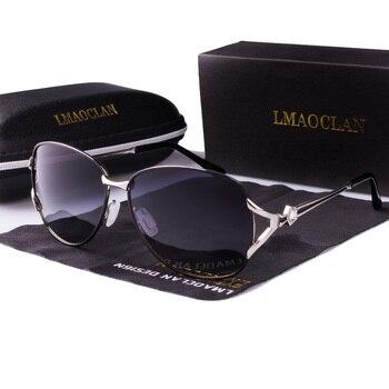 LMAOCLAN Women Metal Polarized Sunglasses Luxury Fashion Ladies Vintage Brand Designer Female Sun Glasses oculos gafas