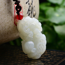 The transfer of natural and Hetian Jade Pixiu pendant genuine and Hetian money Pixiu jade pendant warm and delicate(China)