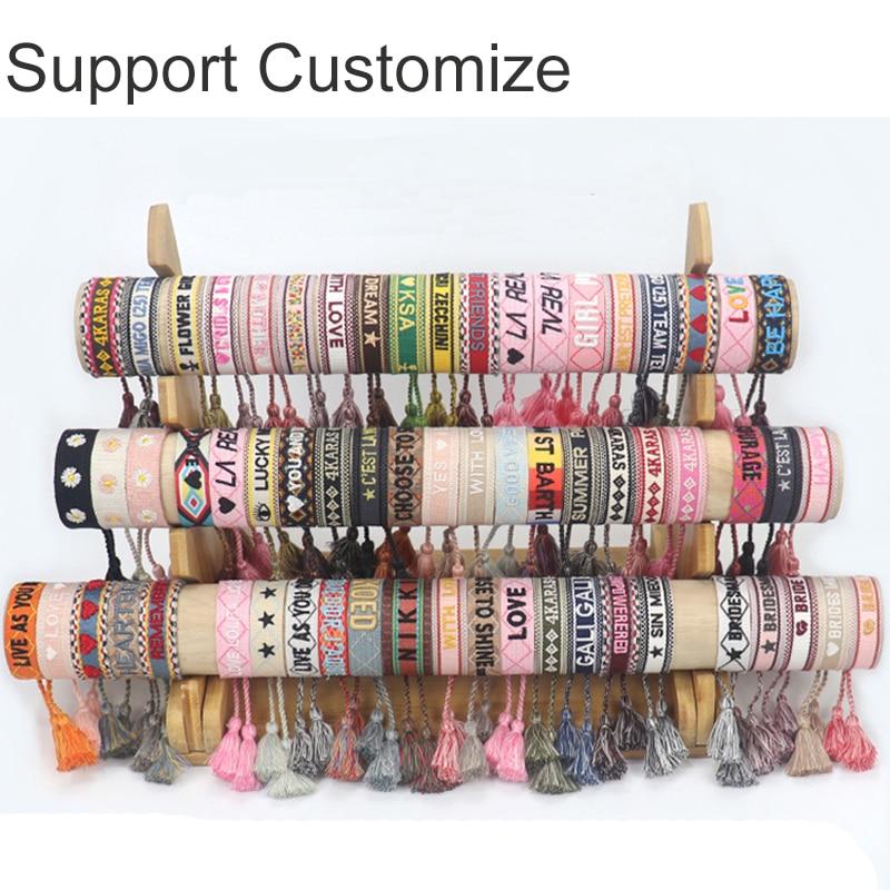 Pulseira de amizade artesanal para mulheres homens corda ajustável pulseira borla pulseiras atacado jóias vintage presentes