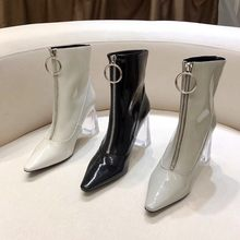 Winter Botas Mujer 2020 Transparent High Heels Boots Women Ankle Boots For Women Patent Leather Botas Feminina Sexy Buty Damskie(China)