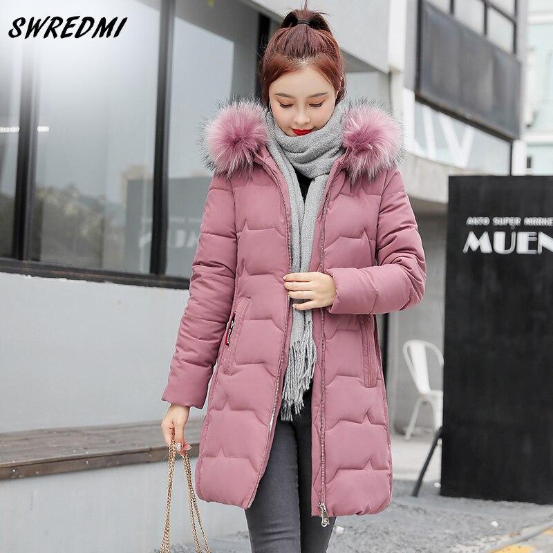 SWREDMI Winter Jacket Women New Fashion Large Fur Collar Winter Coats Hooded Long Cotton Padded Jackets Ladies Plus Size S-4XL