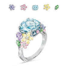 Luxury pink Sky blue Stone crystal Rings For Women Sliver Color Wedding Engagement flower
