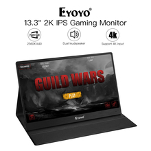 Eyoyo EM13J 13.3 Inch Portable Monitor 2560X1440 QHD IPS Display Computer LED Monitor with Leather Case for PS4 Xbox WiiU Phone