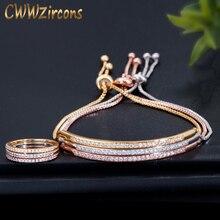 CWWZircons, простые модные брендовые женские ювелирные изделия из розового золота, набор колец и браслетов из кубического циркония для женщин T332