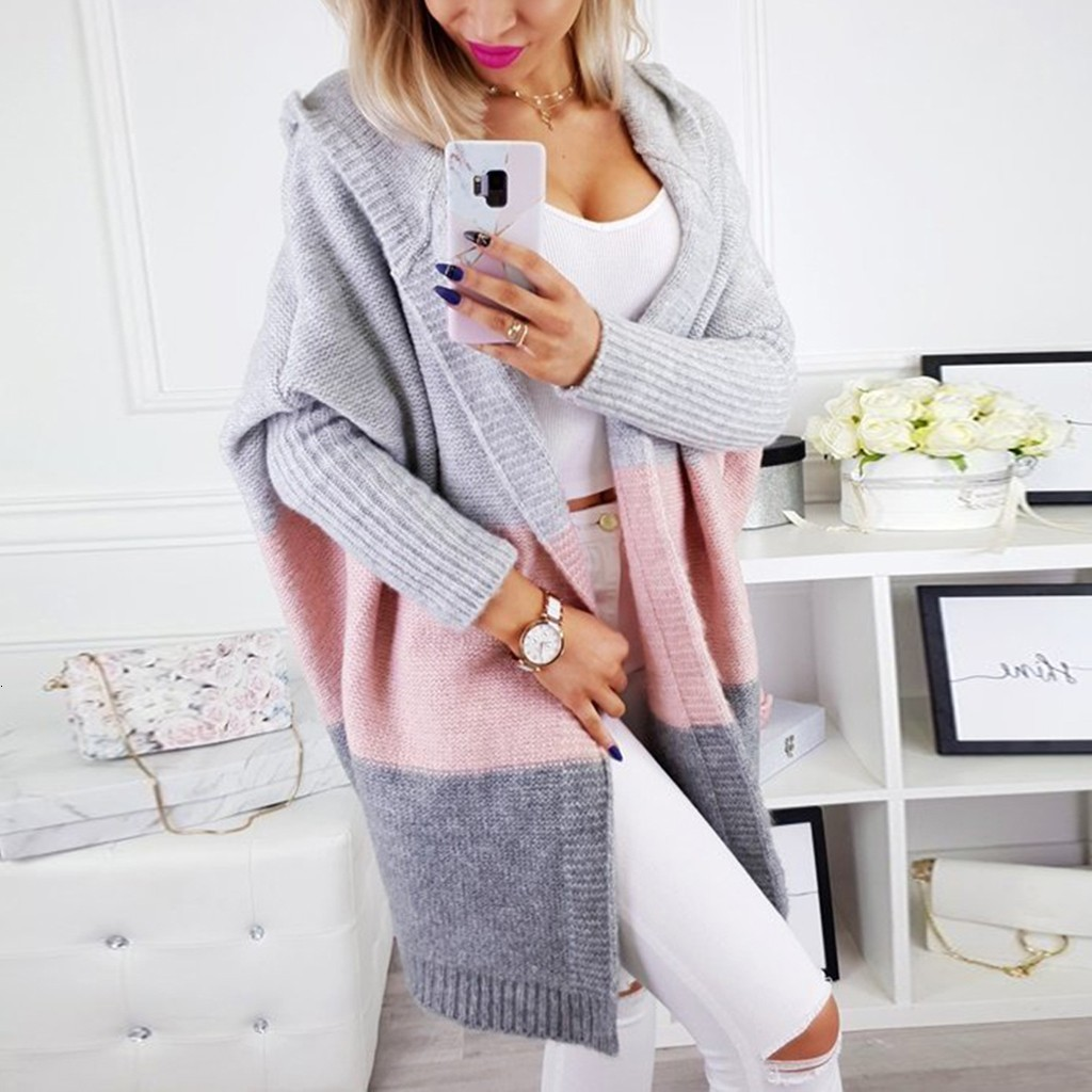 Winter Knitted Sweater Women Loose Striped Long Sleeve Hooded Cardigans Sweater Casual Female Long Jumper Cardigans Coat