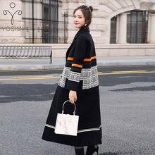 YOSIMI Осень Зима Черные сплайсированные клетчатые длинные шерстяные куртки с длинным рукавом с отложным воротником женские шерстяные пальто с широкой талией