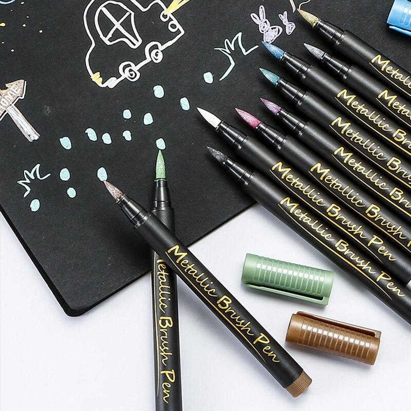 Metallic Art Marker Pens Set Funnasting 12 Color Paint Pen Markers Card DIY Photo Album Drawing for Writing Scrapbook Graffiti
