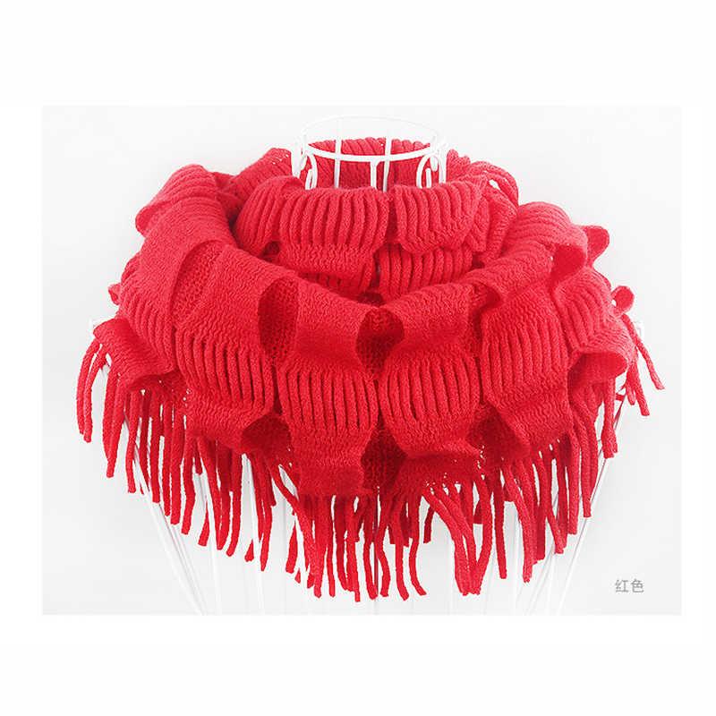 2019 invierno suave flecos borlas bufanda mujeres sólido cuello anillo envuelto círculo chal bufandas de punto accesorios Loop Snood chal