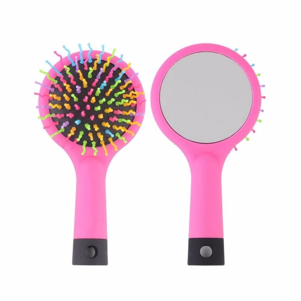 Rainbow Volume Anti-static Magic Detangler Hair Curl Straight Massage Comb Hair Brush Hair Care Styling Tools With Mirror