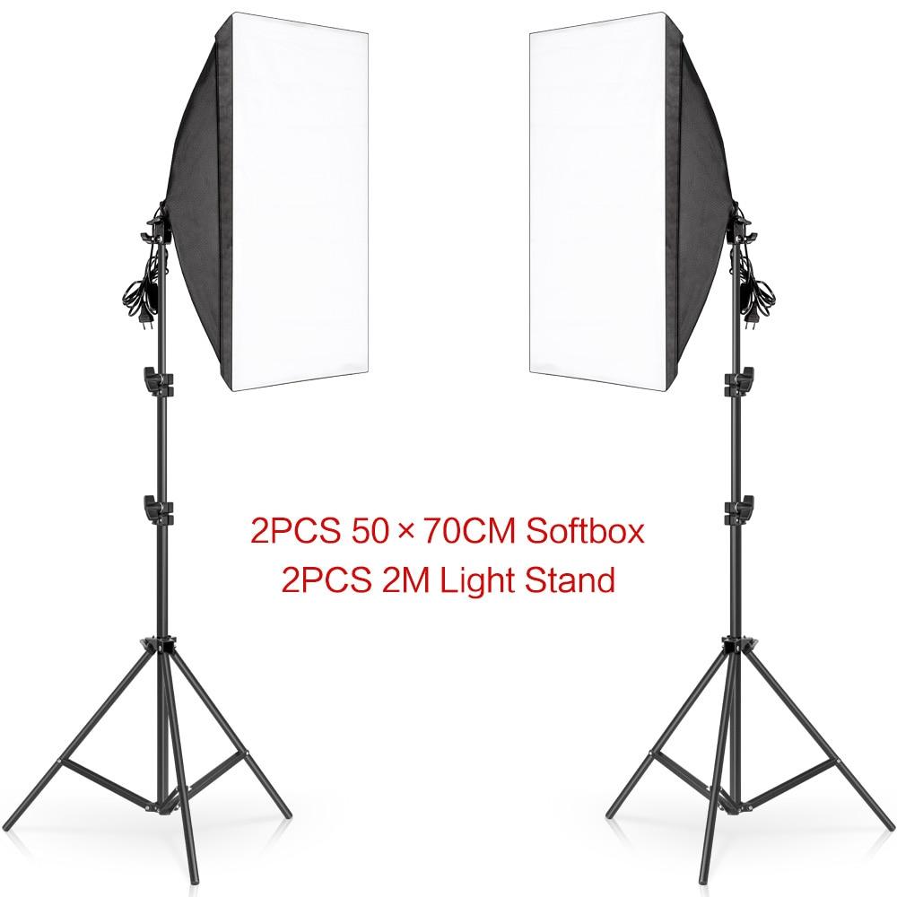 H2d41a3e8fc1647539f0241cc13cd294bk Photography 50x70CM Softbox Lighting Kits Professional Light System With E27 Photographic Bulbs Photo Studio Equipment