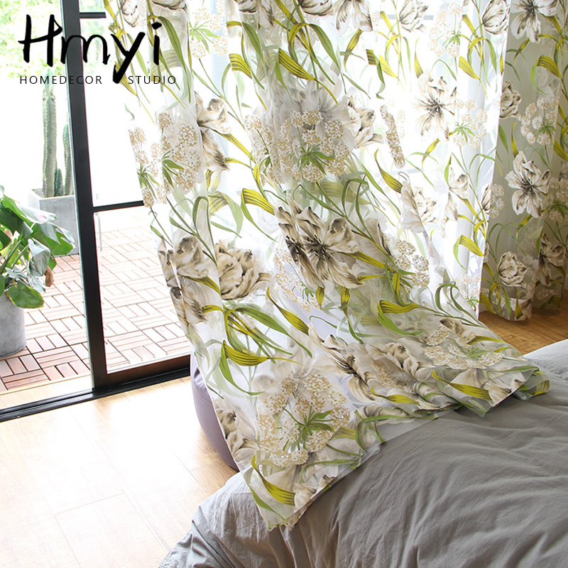 American Tulle Curtains Tropical Flower Leaf Curtains For Living Room Kitchen Green Curtains Bedroom Window Treatment Curtains