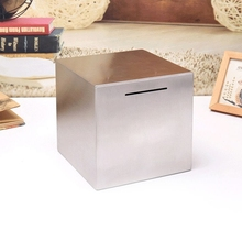 Piggy-Bank Money Safe Stainless-Steel Kids New of Made for Can