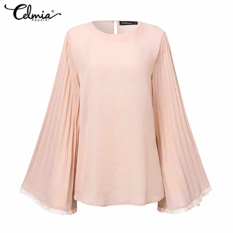 2020 Plus Size Vrouwen Lente Solid Blouse Vrouwen Casual Lange Flare Mouwen Plisse Shirt En Tops Dames Elegante Chiffon Blusas 5XL