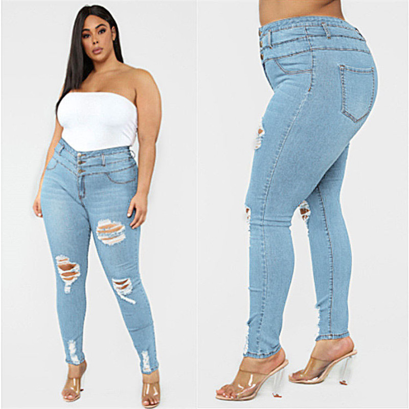 Women's Plus size jeans Black and blue high waist ripped jeans Fashion casual skinny denim pencil pants L-5XL drop shipping 6