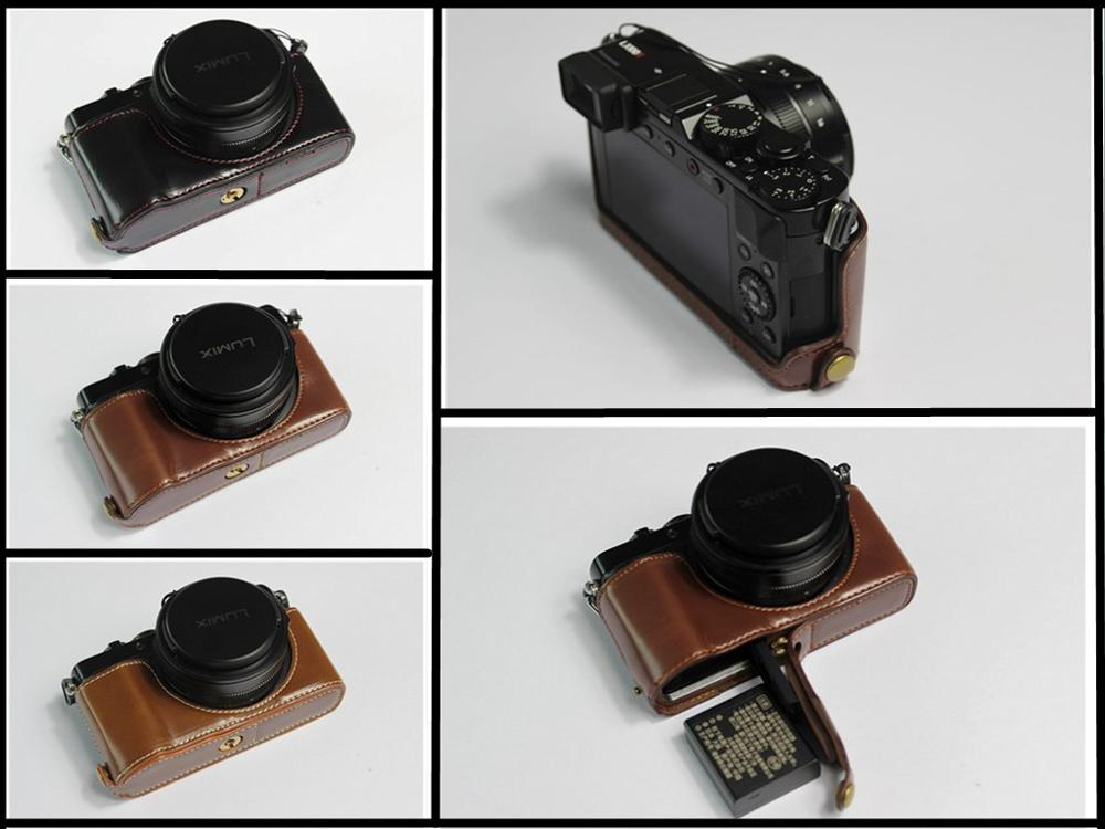 Digital Camera Pu Leather Case Bottom Opening Version Protective Half Body Cover Base For Panasonic Lx100II Lx100m2