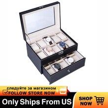 Ящики Для Хранения Бункеров 20 Отсеков Двойного Слоя Элегантный Деревянная Коробка Коллекции Часы Черный