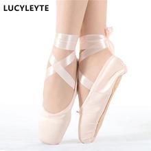 Tamanho 28-43 lucyleyte criança e adulto ballet pointe sapatos de dança senhoras profissional sapatos de dança de balé com fitas sapatos mulher