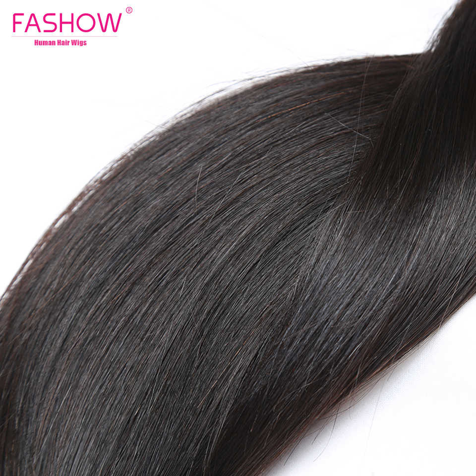 FASHOW Menselijk Haar met Sluiting Peruaanse Haar 3 Bundels Met 360 Frontale Sluiting Pre Geplukt Natuurlijke Haarlijn Mode Haar Stijl In de uitverkoop