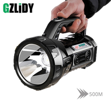 Powerful LED Spotlight Rechargeable Super Bright Searchlight Waterproof Flashlight Fishing Torch Lantern Can Charge The Phone