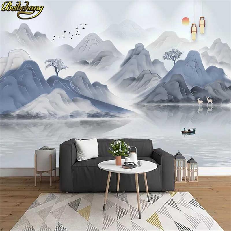 Beibehang Custom תמונה טפט מופשט דיו נוף טלוויזיה רקע מכסה חדר שינה סלון בית תפאורה 3D קיר נייר
