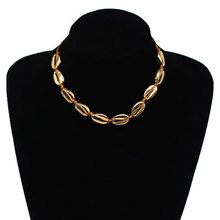 Europe And America Accessories Bohemian Versitile Fashion Style Necklace Handmade String Alloy Shell Necklace Women's fashion anchor style zinc alloy shell pendant necklace silver blue