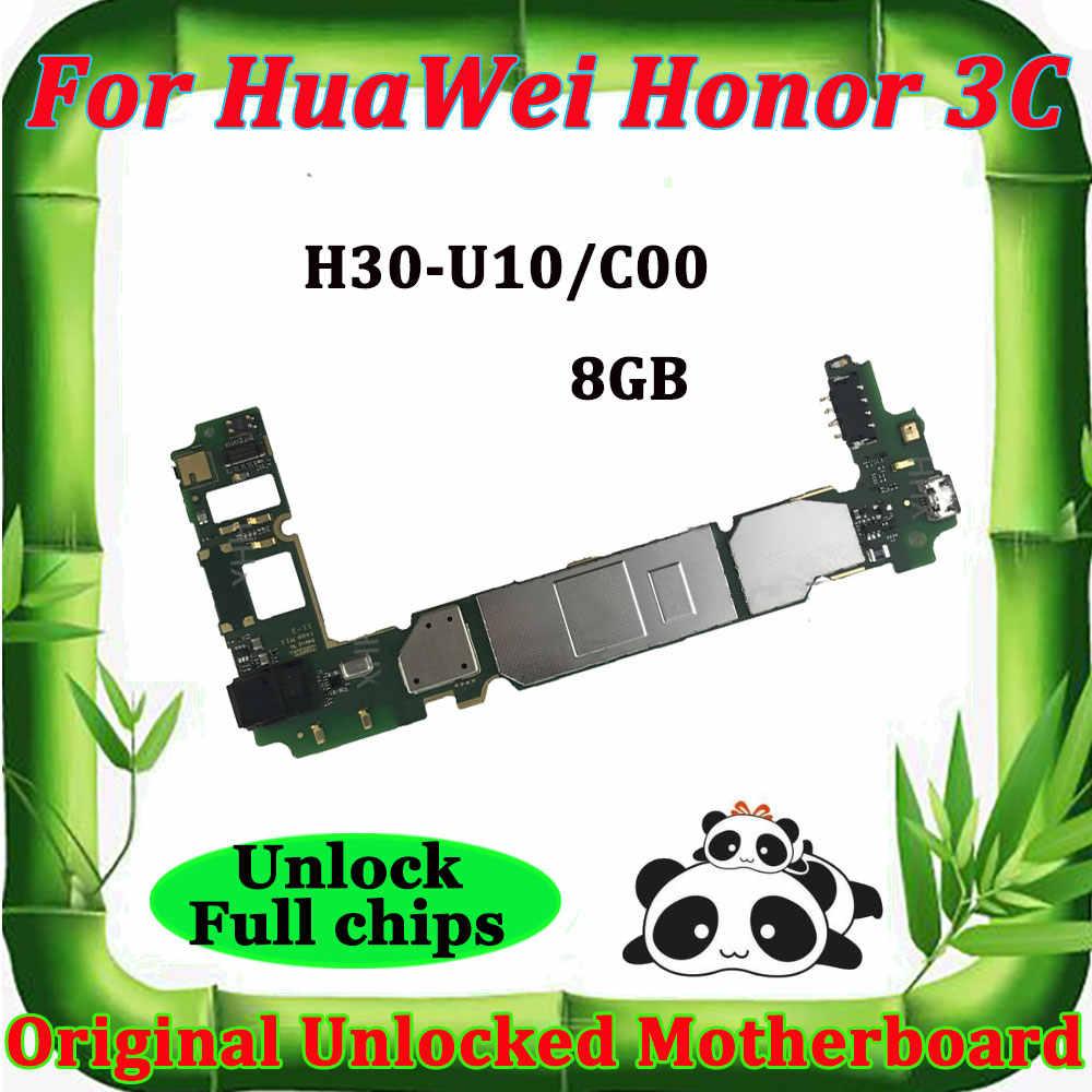 Para huawei honor 3c desbloqueado mainboard 3 c placa mãe placas principais desbloquear placa lógica compacto H30-U10 H30-C00 8g