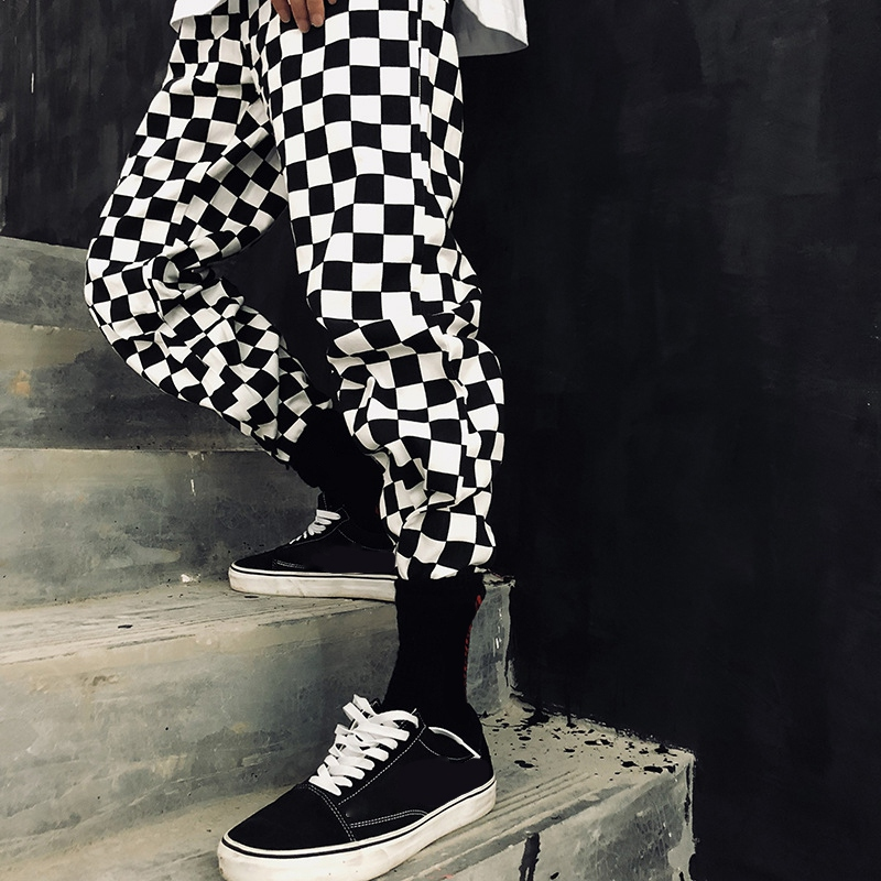 Streetwear Plaid Women Pants Drawstring Full Length Pants Checkered Black And White Casual Wide Leg Pants Straight Trouser