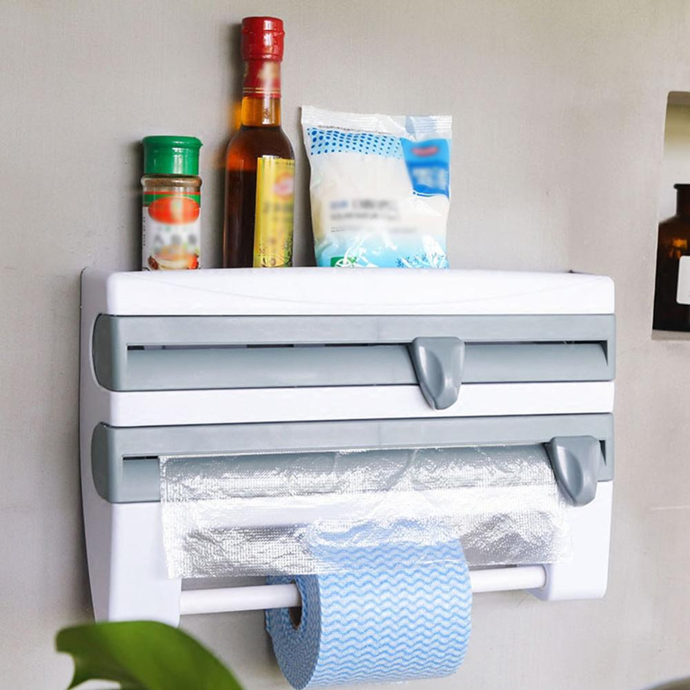 Wall-Mount Paper Towel Holder Kitchen Organizer Preservative Film Dispenser Sauce Bottle Storage Rack Wall Roll Paper Storage