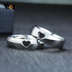 Vnox Hollow Heart Wedding Rings for Women Men Never Fade Stainless Steel Band LOVE Couple Gift Accessory