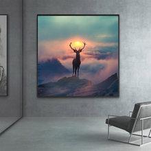 Estilo nórdico floresta elf veados pintura da lona animais paisagem cartazes e cópias parede arte imagem para sala de estar decoração casa