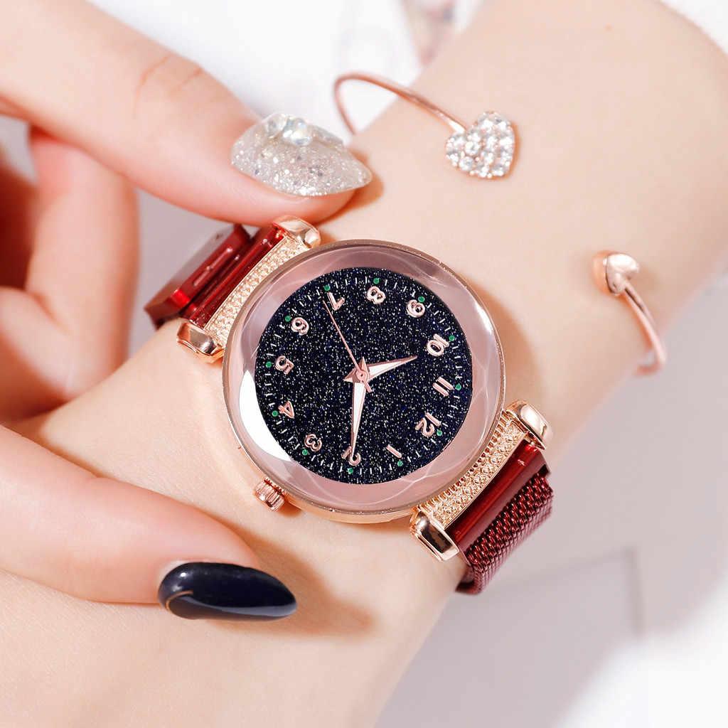 Wysokiej jakości kobiety zegarki Reloj Mujer Starry Sky Noctilucent zegarek mozaika diament kwarcowy pasek z siatki zegarek dla kobiet Relogio Feminino