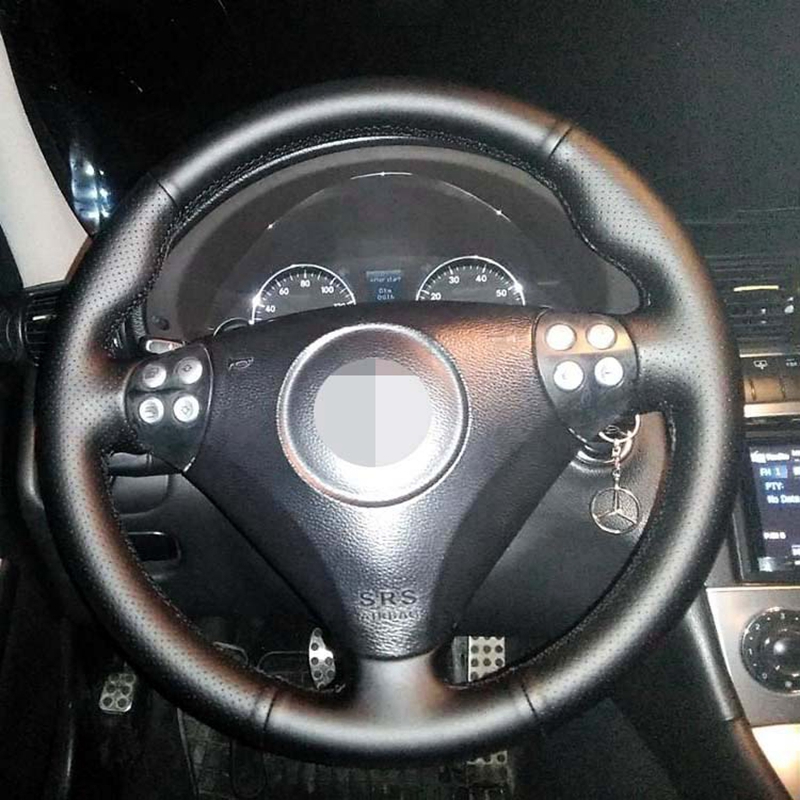 DIY Black High Soft Artificial Leather Car Steering Wheel Cover for <font><b>Mercedes</b></font> <font><b>Benz</b></font> SLK-Class W171 W170 SLK 2004-2008 <font><b>C230</b></font> Komp image