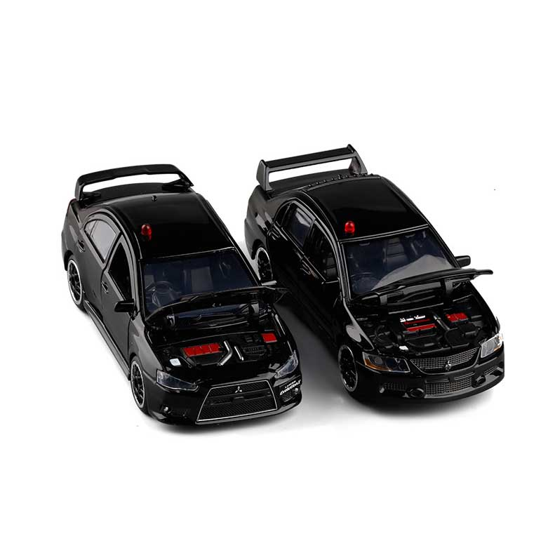 1:32 High Simulation Mitsubishi EVO Lancer 9 Plain Clothes Police Car Realistic Siren Alloy Car Model Sound And Light Car Toy