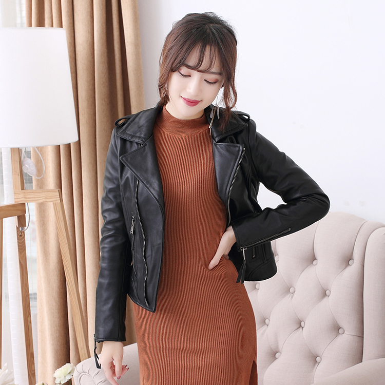 Free Shipping,fashion Style Genuine Leather Women Slim Coat.motorbiker Asian Size Sheepskin Jacket Woman.sales.quality