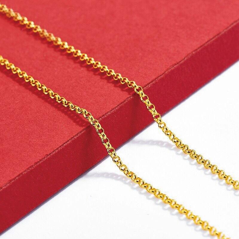 Ожерелье-цепочка XP Jewelry- (45 см х 2 мм) для женщин, цвет 24-каратного чистого золота, лидер продаж, ювелирные изделия с вышивкой, модные, без никел...