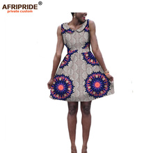 2017 summer women dress AFRIPRIDE private custom print cotton sleeveless above knee double-layer casual Ball Gown dress A722574