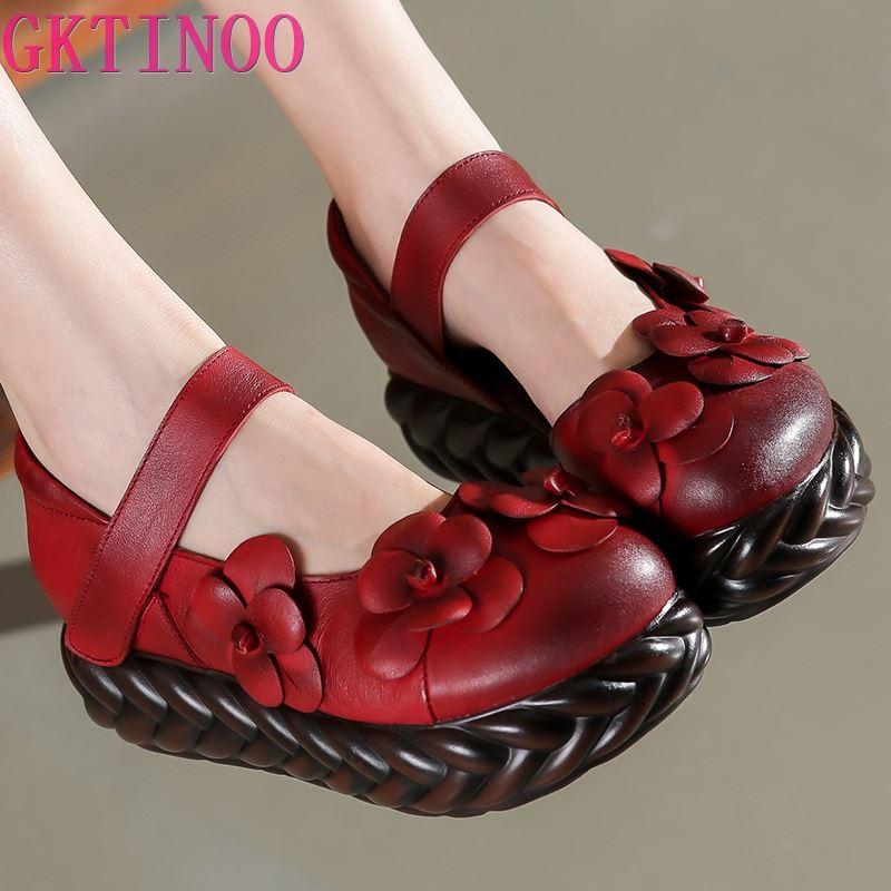 GKTINOO Women Pumps Autumn High Heels Wedge Shoes Women Flower Genuine Leather Platform Pumps Women Ankle Strap Handmade Shoes
