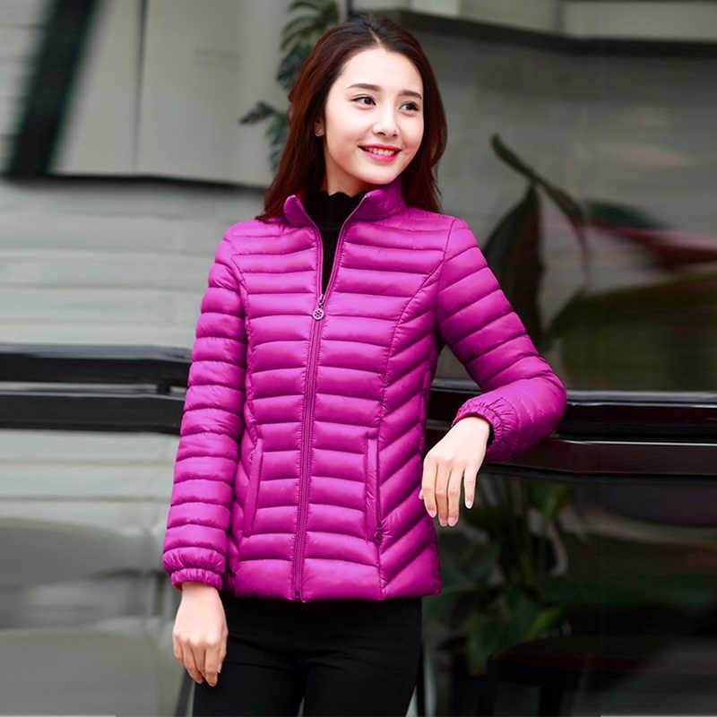 Cổ áo đứng parkas mujer 2019 phụ nữ giữ ấm mùa đông phối đen đỏ Hồng lót bông Áo Khoác Nữ Vải Dù Nữ wadded Áo khoác