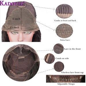 """Image 4 - Kadoyee frente do laço perucas de cabelo humano brasileiro remy cabelo 13x4 """"despedida peruca reta com franja 8"""" 26 """"preplucked 130% 150% densidade"""