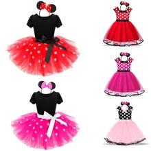 Костюм платье-пачка с Минни Маус для девочек; Балетные платья принцессы; одежда в горошек для дня рождения; повязка на голову; Детская летняя одежда; Vestidos
