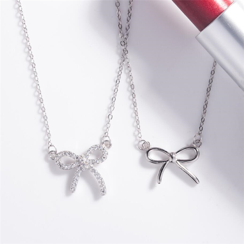 Sole Memory Rhinestone Butterfly Sweet Cute Romance 925 Sterling Silver Clavicle Chain Female Necklace SNE525